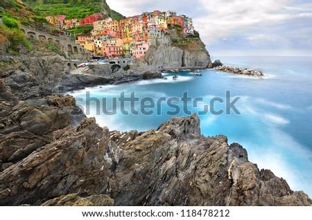 Manarola landscape in cold morning colors (Cinque Terre, Italy)