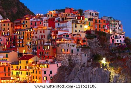 Manarola town at night. Cinque Terre national park. Italy