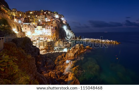 Manarola village at night, Cinque Terre, Italy