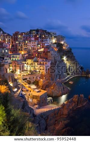 Manarola village at night, Cinque Terre, Italy