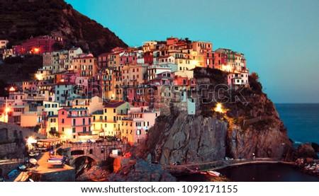 Manarola village by night, Liguria, Italy