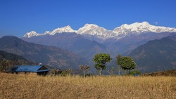 Manaslu range and valley seen from a place near Ghale Gaun, Nepal.