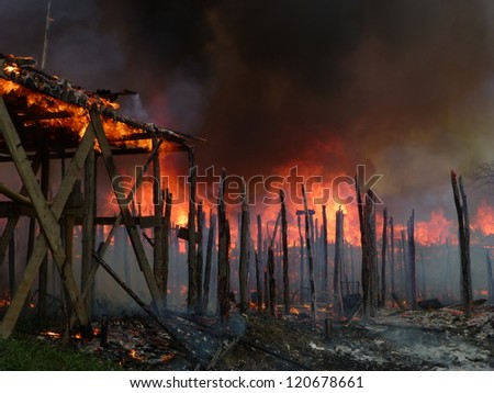 MANAUS, BRAZIL - NOV 27:  Large fire destroys countless stilt houses in the district of Sao Jorge in Manaus Amazonia, Brazil, Nov 27, 2012