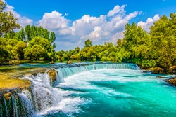 Manavgat Waterfall in Turkey. It is very popular tourist attraction.