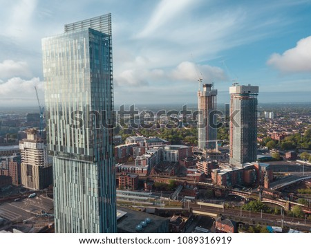 Manchester City Centre Drone Aerial View Above Building Work Sky