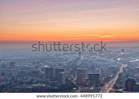 Manchester City Centre sunset