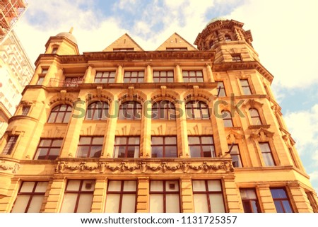 Manchester - city in North West England (UK). Old townhouse. Retro filtered colors style.