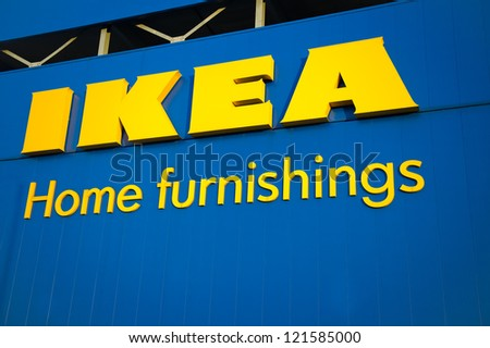 MANCHESTER-DEC 11: IKEA Manchester Store on Dec. 11, 2012 in Manchester, UK. The company is the world's largest furniture retailer. Founded in Sweden in 1943 by 17-year-old Ingvar Kamprad. - stock photo