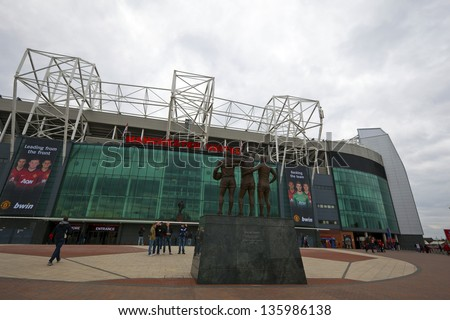 MANCHESTER, ENGLAND - APRIL 21: Old Trafford stadium is home to Manchester United one of the wealthiest and most widely supported football teams in the world.  Manchester April 21, 2013.