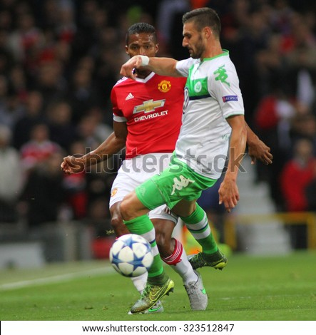 MANCHESTER, ENGLAND - SEPTEMBER 30, 2015: Champions League match between Manchester United and Vfl Wolfsburg at Old Trafford Stadium on September 30, 2015