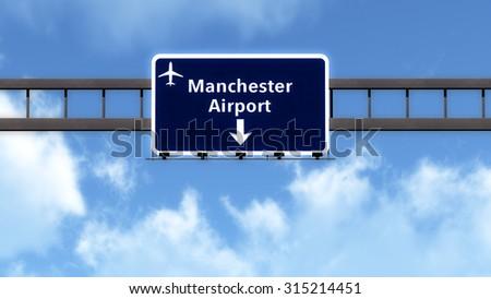 Manchester England United Kingdom Airport Highway Road Sign 3D Illustration