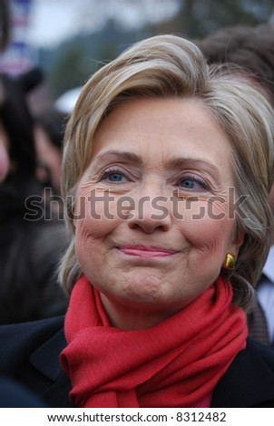 MANCHESTER, NH – JAN 8: Closeup of Senator Hillary Clinton campaigning to become the Democratic party presidential candidate on January 8, 2008, in Manchester, New Hampshire.