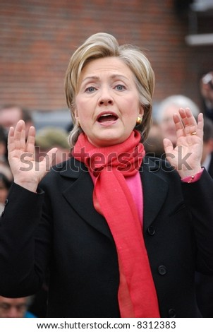 MANCHESTER, NH – JAN 8: Senator Hillary Clinton campaigning to become the Democratic party presidential candidate on January 8, 2008, in Manchester, New Hampshire.