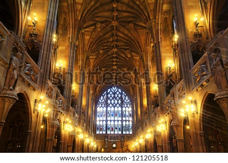 MANCHESTER, UK - DECEMBER 2: Interior of the University of Manchester's iconic  John Rylands Library, 2 December 2012. It is  'Visitor Attraction of the Year' at the city's 2012 annual tourism awards.