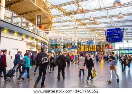 Manchester, UK - May 18 2018: Manchester Piccadilly is the principal railway station in Manchester  hosts long-distance intercity and cross-country services to national destinations #1417760552