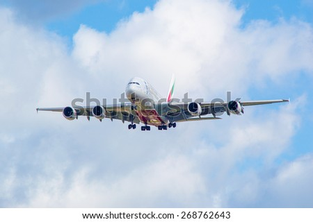 MANCHESTER, UNITED KINGDOM - APRIL 11, 2015: Airbus A380 Emirates on approach to Manchester airport on April 11, 2015.