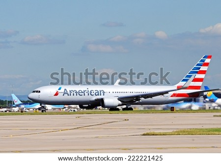 MANCHESTER, UNITED KINGDOM - JULY 22, 2014 - American Airlines Boeing 767-323ER taxiing at Manchester airport, Manchester, Greater Manchester, England, UK, Western Europe, July 22, 2014.