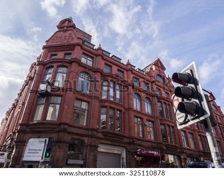 MANCHESTER, UNITED KINGDOM - JUNE 18, 2015: Typical architecture in the center of Manchester, United Kingdom.