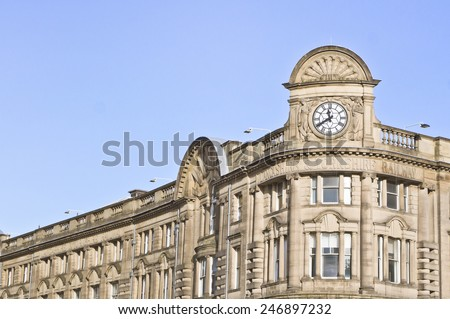 Manchester Victoria station in the UK, showing details of the historic architecture