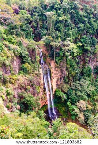 Manchewe Falls viewpoint -Long waterfall in a jungle near Livingstonia in Malawi - Africa