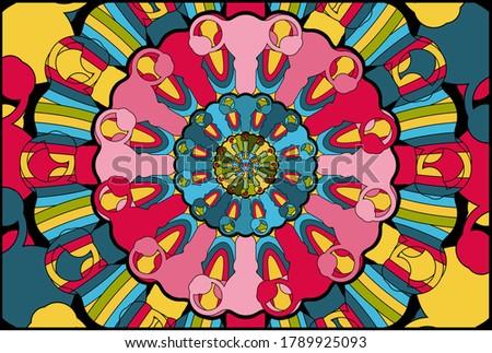 Mandala background uterus. Color background with women symbol, girl power, female reproductive organ, heart, vagina.