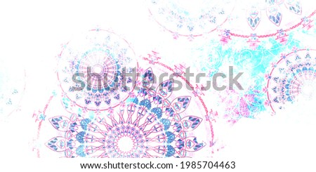 mandala colorful dark eyes vintage art, ancient Indian vedic background design,shree radha krishna artistic work, old painting texture with multiple mathematical shapes Photo stock ©