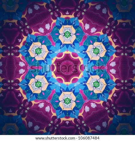 Mandala Flower Lilas/Ornamental round floral pattern. kaleidoscopic floral pattern, six-pointed mandala. Fractal mosaic background./ High resolution abstract image.