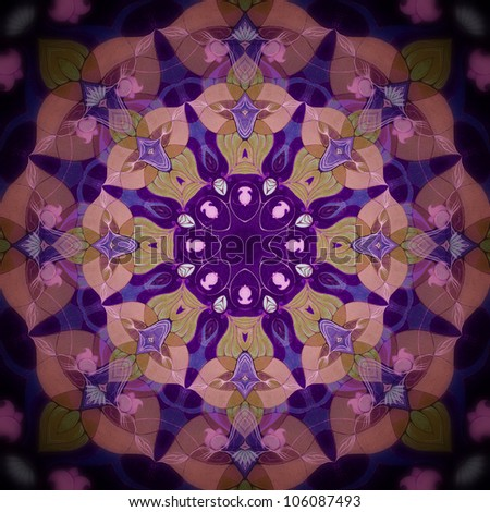 Mandala Flower purple/Ornamental round floral pattern. kaleidoscopic floral pattern,eight-pointed mandala. Fractal mosaic background./ High resolution abstract image.