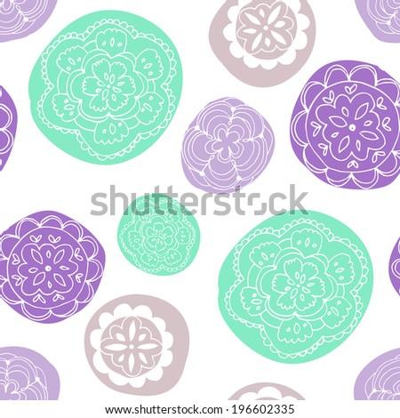 Mandala Pattern. Cute Circle Doily Pattern. Repeating Circle Pattern. Cute Background Pattern