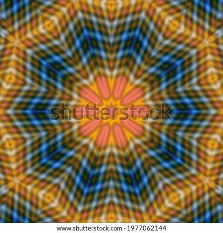 Mandala, tracery wheel mendi design. Ethnic ornament, colorful doodle symmetry texture. design psychedelic , decoration blur. Stock photo ©