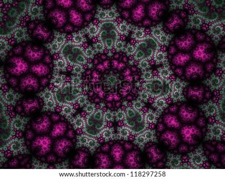 Mandala wheel with curly details, digital fractal artwork, abstract illustration