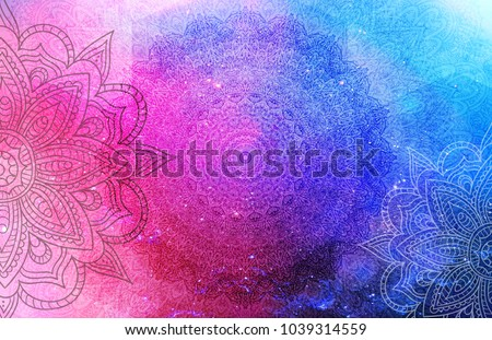 Mandalas on a blue, pink, turquoise, purple and white background