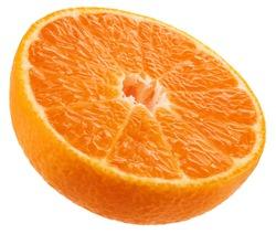 Mandarin fruit halves isolated on white background
