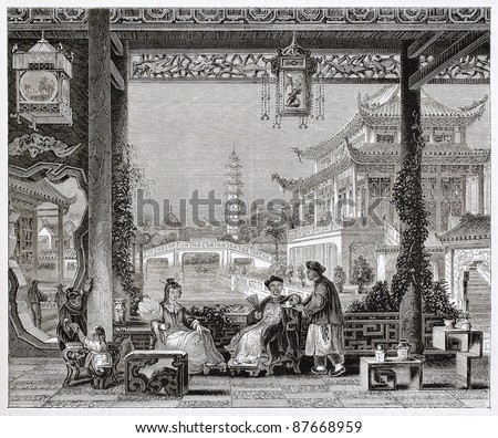 Mandarin house in Beijing, old illustration. By unidentified author, published on Magasin Pittoresque, Paris, 1844 - stock photo
