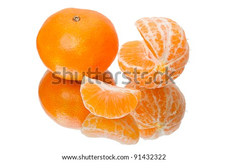 Mandarin orange with a reflection. Isolated on a white background