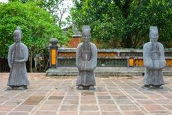 Mandarin Soldiers. Honour Courtyard of the Tomb of Tu Duc in Hue, Vietnam