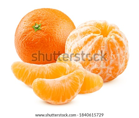 mandarin, tangerine, isolated on white background, clipping path, full depth of field ストックフォト ©