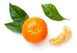 Mandarin with green leaves isolated on white background. Flat lay, top view