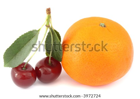 Mandarine and two sour cherries with leaves, isolated on white