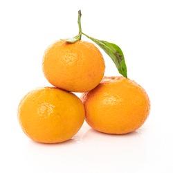 mandarins with leaf isolated on white background