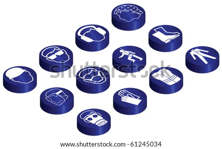 Mandatory construction related glossy isometric button set individually layered