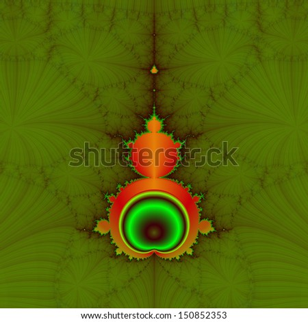 Mandelbrot in Orange and Green / Classic Mandelbrot fractal in orange red and green on a green background.