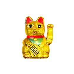 Maneki Neko isolated on white background. Japanese lucky cat, figurine golden cat brings good luck