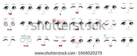 Manga expression. Anime girl facial expressions. Eyes, mouth and nose, eyebrows in japanese style. Manga woman emotions cartoon  set. Illustration character manga facial girl, cute expression