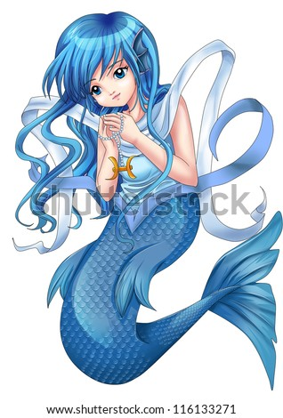 Manga style illustration of zodiac symbol, Pisces