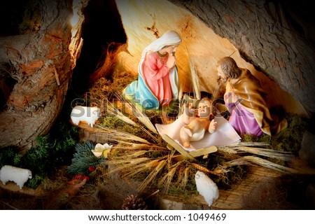 Manger. Christmas nativity scene