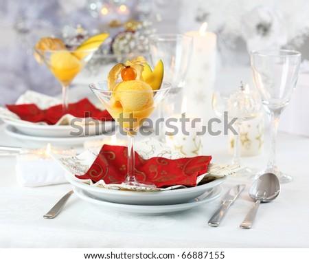 Mango and pineapple sorbet or ice cream for Christmas