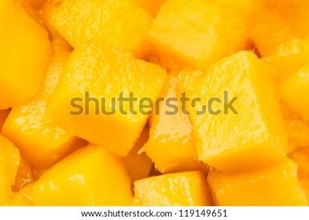 mango chunks full frame closeup