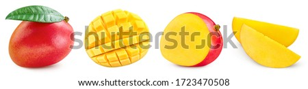Mango collection. Mango fruits with green leaf isolated on white background. Mango with clipping path Foto stock ©