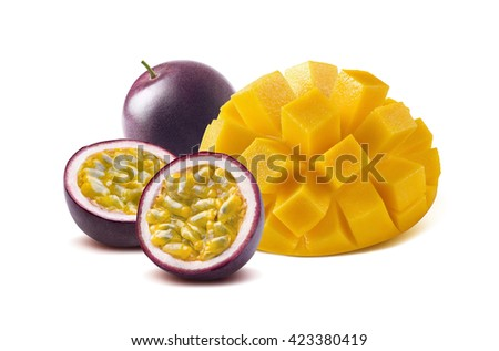 Mango cut maraquia passion fruit isolated on white background as package design element